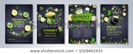 День Святого Патрика котел Золотые монеты Shamrock вокруг лист Сток-фото © WaD