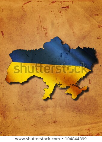 Ukrainian map with flag over old paper Stock photo © marinini