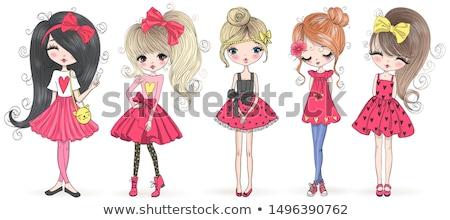 Stock fotó: Vektor · lány · absztrakt · divat · nő · festék