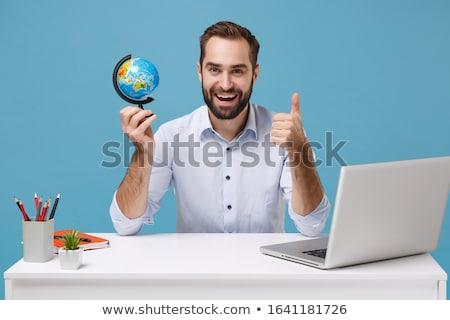 laptop · fiú · tart · Föld · bolygó · kicsi - stock fotó © Mikko