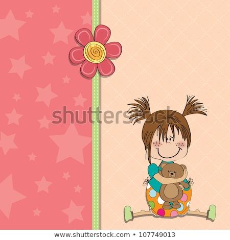 Aanpasbare kinderachtig kaart grappig teddybeer liefde Stockfoto © balasoiu