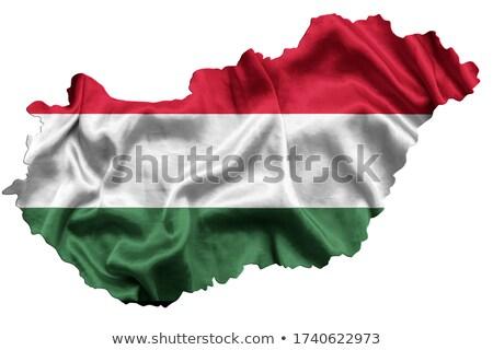 európai · zászló · térkép · Magyarország · izolált · fehér - stock fotó © michaklootwijk