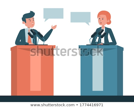 presidente · discurso · pódio · reunião · alto-falante · imprensa - foto stock © iqoncept