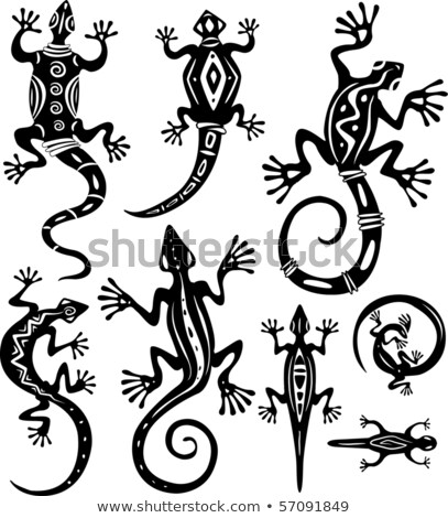 Lizard Tribal Tattoo Set Stockfoto © wikki