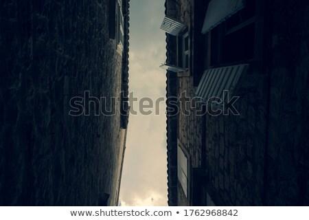 street with dark clouds and heavy rain Stock photo © meinzahn