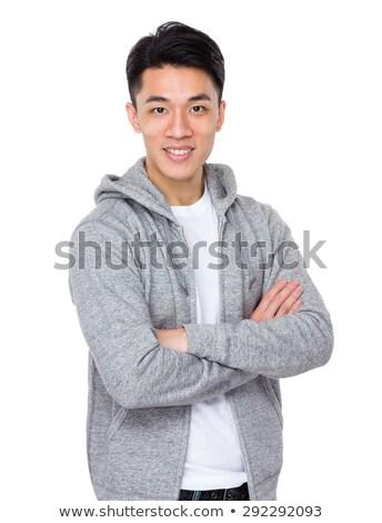 Broni fałdowy uśmiech teen chłopca Zdjęcia stock © ambro
