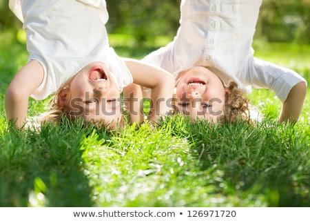 Kid · fille · blanche · poule · vert - photo stock © nejron