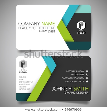 Modern green business card template with simple graphic Stock photo © orson