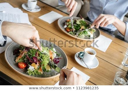 Asztal találkozó étterem közelkép kávézó tányér Stock fotó © amok