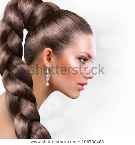 Beauty. Profile of Young Stylish Brunette with Tress Stock photo © gromovataya