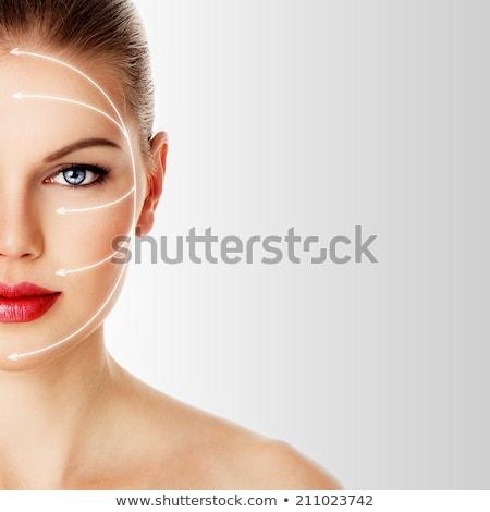 mooie · jonge · vrouw · rode · lippen · botox · spuit · hand - stockfoto © nejron