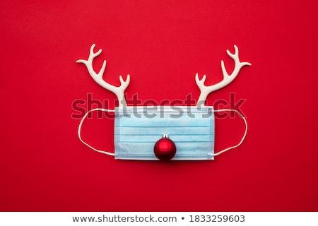 Tatil ren geyiği dekorasyon kırmızı ipek şerit Stok fotoğraf © jeliva