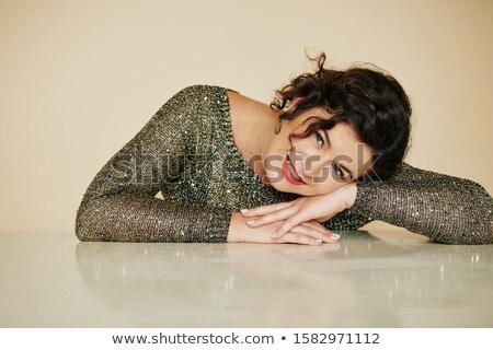 vrouw · zwart · haar · elegante · bruin · jurk · geïsoleerd - stockfoto © deandrobot
