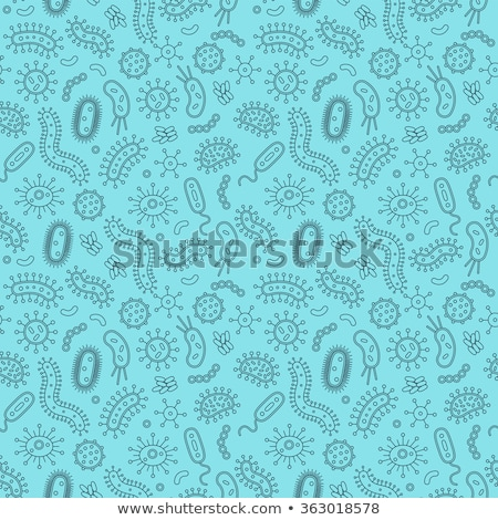 Stock photo: Blue Seamless Pattern With Bacteria And Germs