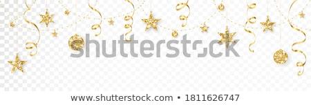 Karácsony keret arany szalagok kép illusztráció Stock fotó © Irisangel
