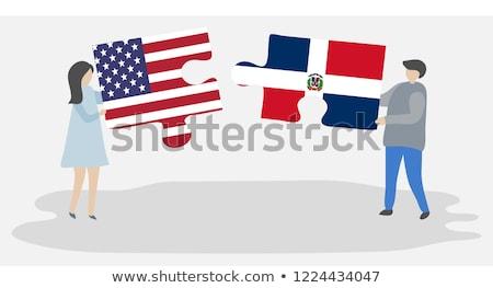 USA République Dominicaine drapeaux puzzle vecteur image Photo stock © Istanbul2009