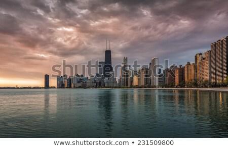 panorama · Chicago · pôr · do · sol · Illinois · EUA · linha · do · horizonte - foto stock © cboswell