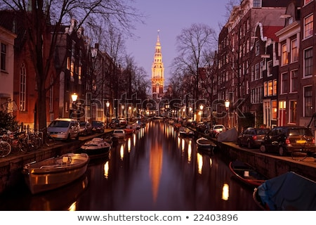 Kilise Amsterdam sabah su Bina nehir Stok fotoğraf © AndreyKr