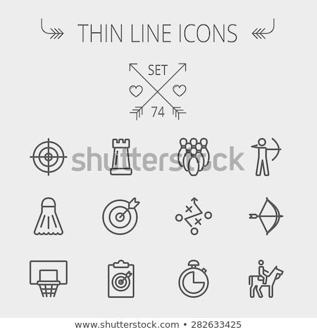 Stock fotó: Célkereszt · cél · vékony · vonal · ikon · háló