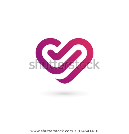 vector logo in the shape of a heart with the letter v stock photo © butenkow