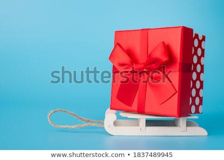 Nagy ajándék boldog lány nagyszerű ajándék nő Stock fotó © alphaspirit