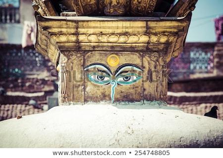 buddha eyes close up with prayer flags at bodhnath stupa in kath stock photo © mariusz_prusaczyk