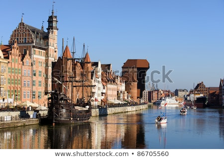 picturesque scenery in the old town of gdansk in poland with motlawa river and the crane at the far stock photo © mariusz_prusaczyk