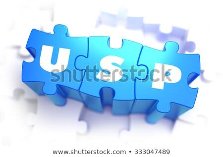 Stock fotó: Fehér · szó · kék · egyedi · elad · pont