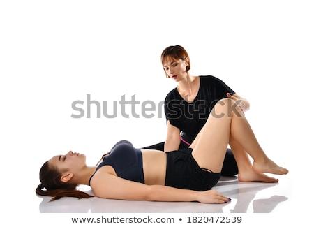 lány · sportruha · gimnasztikai · testmozgás · padló · készít - stock fotó © Paha_L