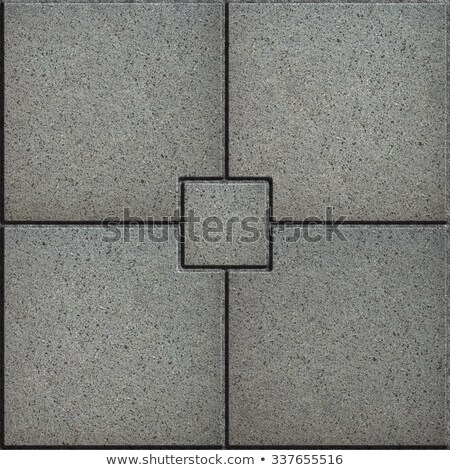 Gray Paving Slabs in the form of Small Brick Surrounded Four Large Square. Stock photo © tashatuvango