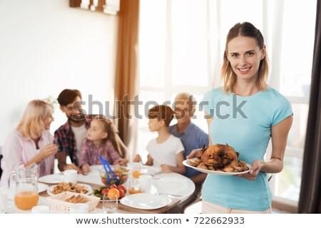 Children having dinner behind table Stock photo © Paha_L
