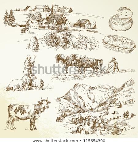 村 · 山 · 春 · 風景 · 木製 · 光 - ストックフォト © kotenko