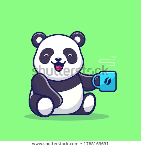 Gigant panda posiedzenia wody kąpieli Zdjęcia stock © Juhku