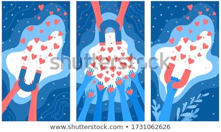 Kezek mágnesek szív emberi piros eps Stock fotó © limbi007