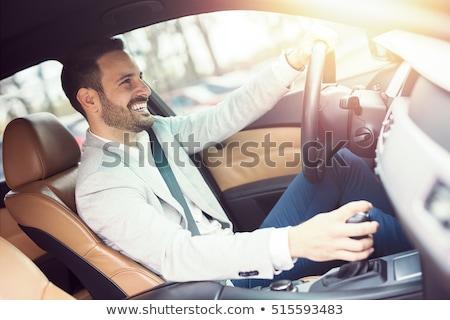 jonge · man · rijden · auto · handen · stuur · weg - stockfoto © nito
