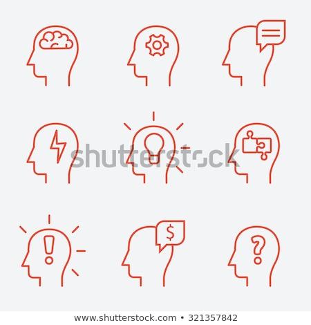human head with idea line icon stock photo © rastudio