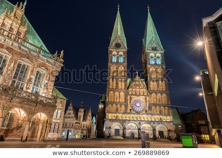 bremen old town historical center church dome night view Stock photo © meinzahn