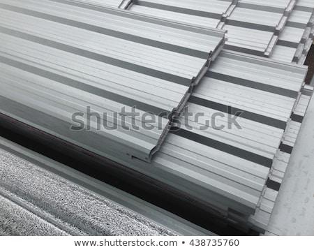 Metal · levha · galvanize · katlanmış · inşaat · duvar - stok fotoğraf © digifoodstock