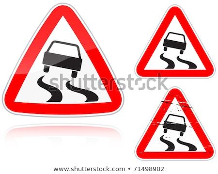 Kaygan yol yol işareti ayarlamak yalıtılmış beyaz Stok fotoğraf © boroda