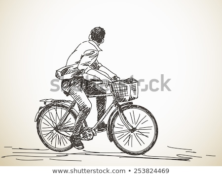 A sketch of a boy riding a bicycle Stock photo © bluering