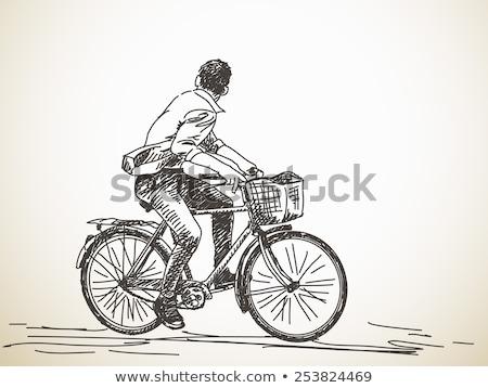 rajz · biciklis · illusztráció · fehér · háttér · keret - stock fotó © bluering