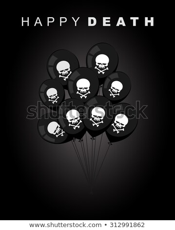 Happy death. Sad accessories for holiday. Black balloons with a  Stock photo © MaryValery