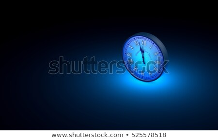 midnight new yearspace and time one blue circular clock 3d stock photo © grechka333