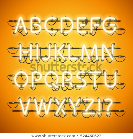 Glowing Neon Honey Yellow Alphabet Stock photo © Voysla