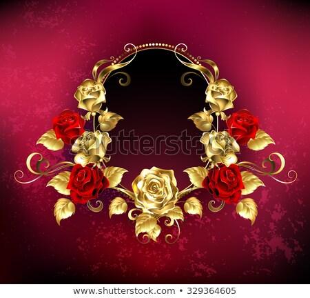 Ovaal banner rozen Rood goud frame Stockfoto © blackmoon979
