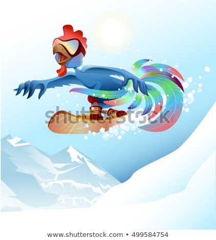 Rooster on snowboard riding mountain. Blue cock symbol 2017 Stock photo © orensila
