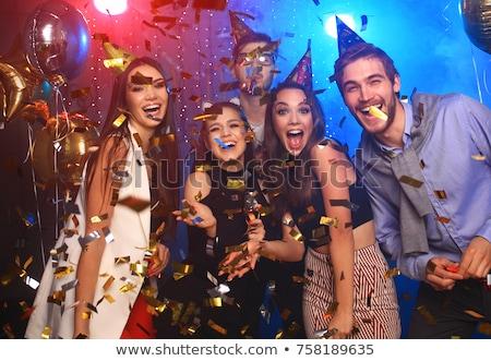 Stok fotoğraf: Birthday Party Celebration - Four Woman With Confetti