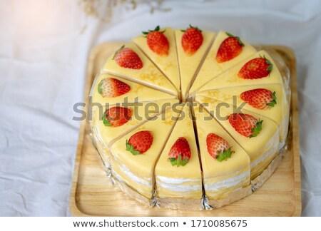 клубника · продовольствие · вечеринка · лист · торт - Сток-фото © vichie81