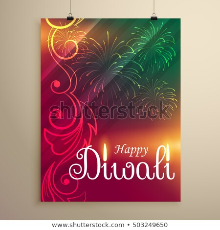 amazing indian happy diwali festival greeting flyer template wit Stock photo © SArts