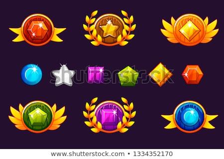 set of heart gem symbols stock photo © swillskill